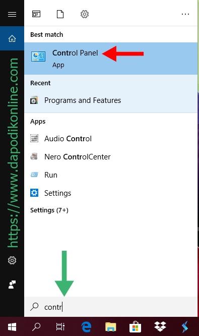 Membuka control panel di laptop