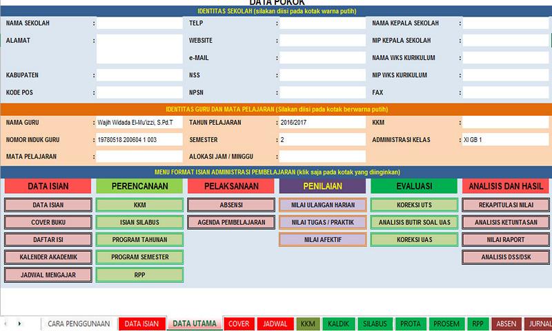 Aplikasi Pembuat Administrasi Guru Lengkap Berbasis Micrsosoft Excel