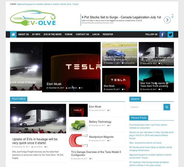 Wordpress Electric Vehicle Website