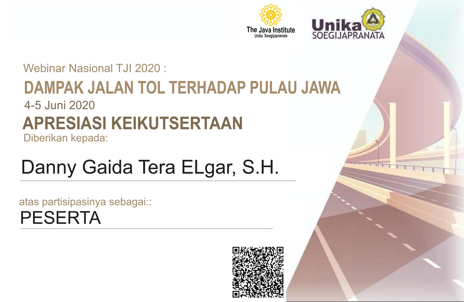 Sertifikat Penghargaan Webinar Nasional The Java Institute (TJI) Universitas Katolik (UNIKA) Soegijapranata Semarang | APRESIASI KEIKUTSERTAAN 4-5 Juni 2020 | Dampak Jalan Tol Terhadap Pulau Jawa