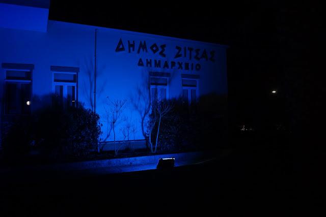 Γιάννενα: Το Δημαρχείο Στην Ελεούσα Φωτίστηκε Μπλε Για Τον Αυτισμό