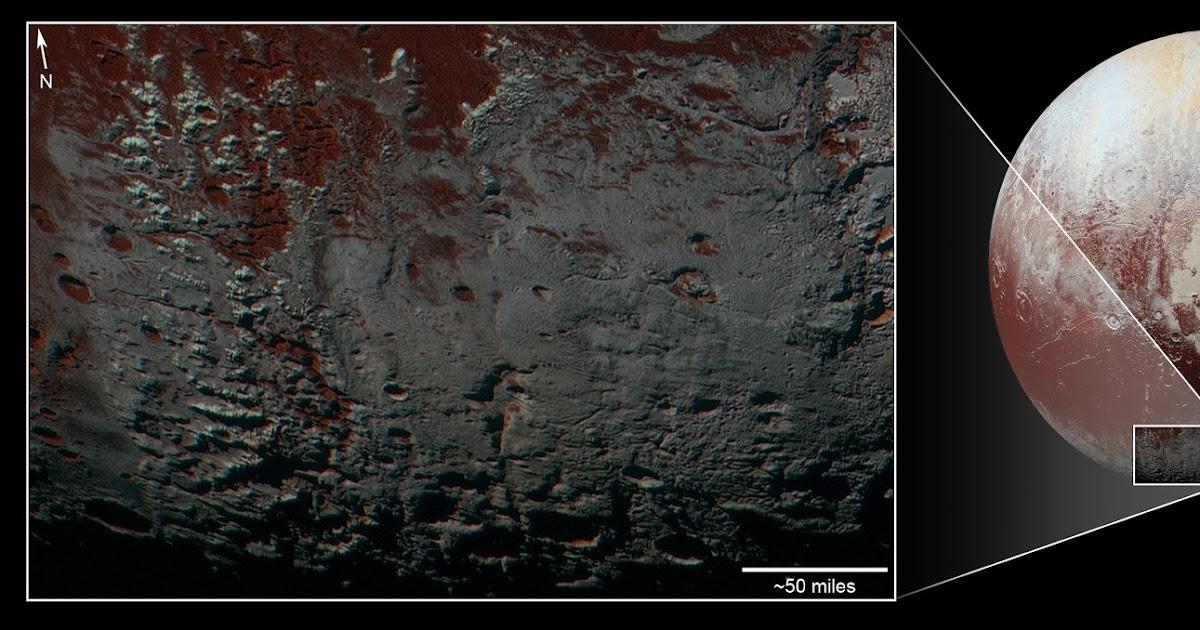 Montagne rivestite di metano nella penombra di Plutone