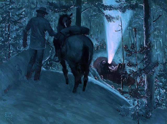 a Harold Von Schmidt illustration of a winter train wreck at night