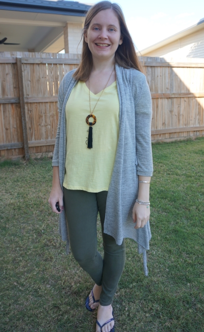 pastel yellow tee with olive skinny jeans and grey cardigan autumn work from home style | away from blue