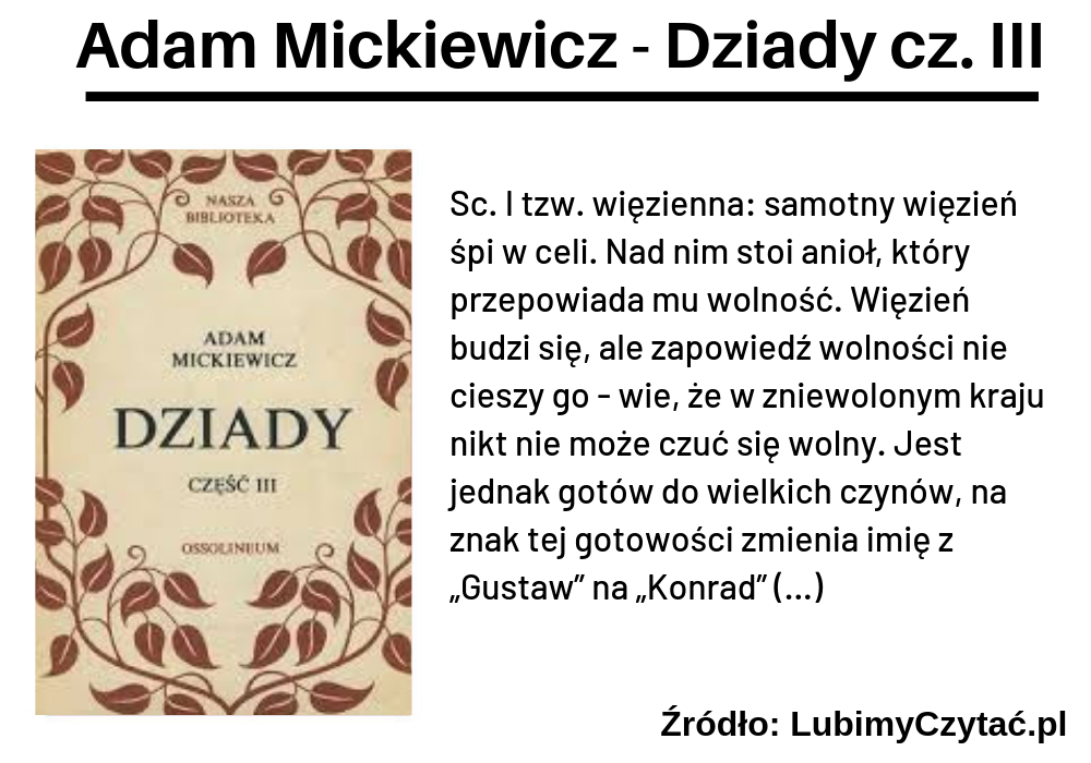 Adam Mickiewicz, Dziady cz. III, TOP 10, Marzenie Literackie