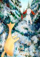 Postikorttikuvitus, missä Hulmu Hukka ja Haukku koira leikkivät talvella havupuiden keskellä / Postcard illustration of Hulmu and Haukku dog playing in spruce forest in winter.