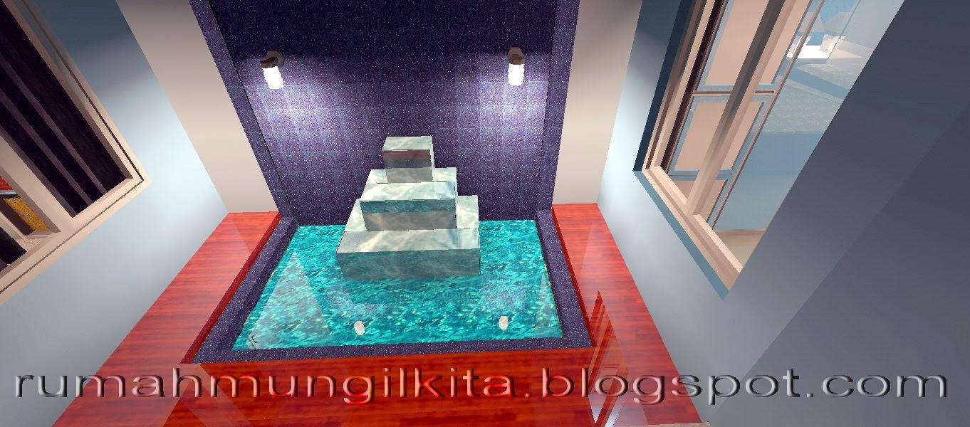 kolam mungil sederhana dengan air terjun bertingkat