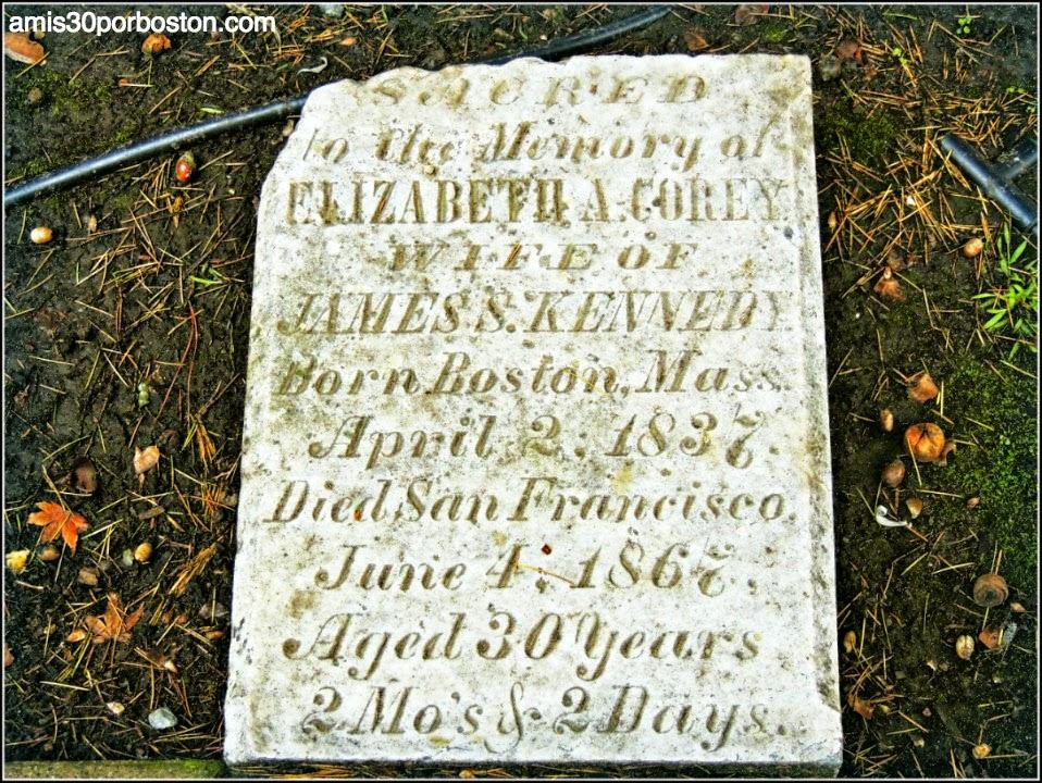 Tumba Mujer de Boston en el Cementerio de la Misión Dolores, San Francisco