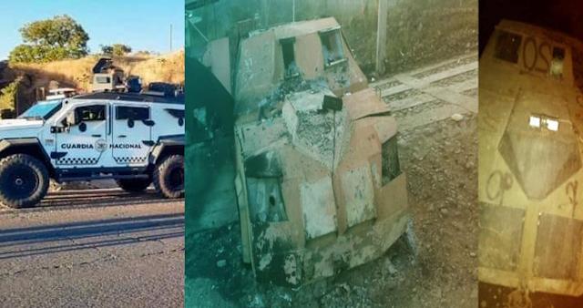FOTOS: El CJNG trato de incursionar con blindados a Chinicuila, Michoacán pero La Guardia Nacional los repelió e hizo retroceder con estos vehículos artillados