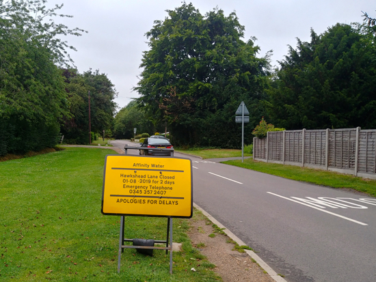 Roadworks Hawkshead Lane, Brookmans Park Aug 1-2. Image by North Mymms News released under Creative Commons BY-NC-SA 4.0