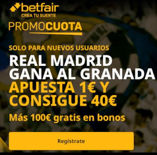 betfair promocuota Real Madrid gana Granada 22 diciembre 2020