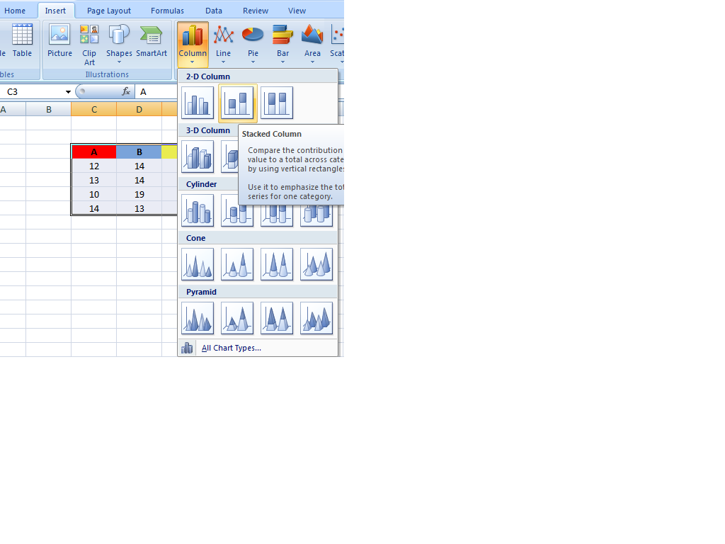 How to Create 2D Stacked Column Chart in Excel | Howto-Tektips
