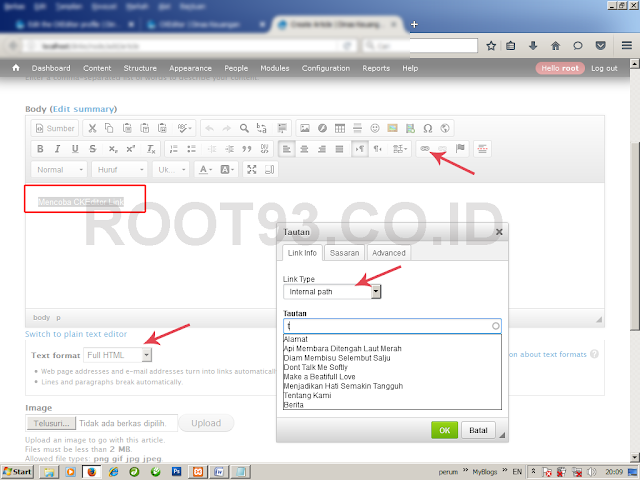 Menambhakan CKEditor link ke CKEditor Drupal