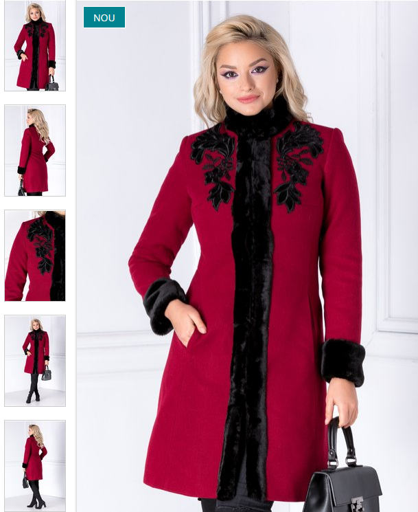 Palton bordo elegant din lana cu blanita si broderie de dama LaDonna