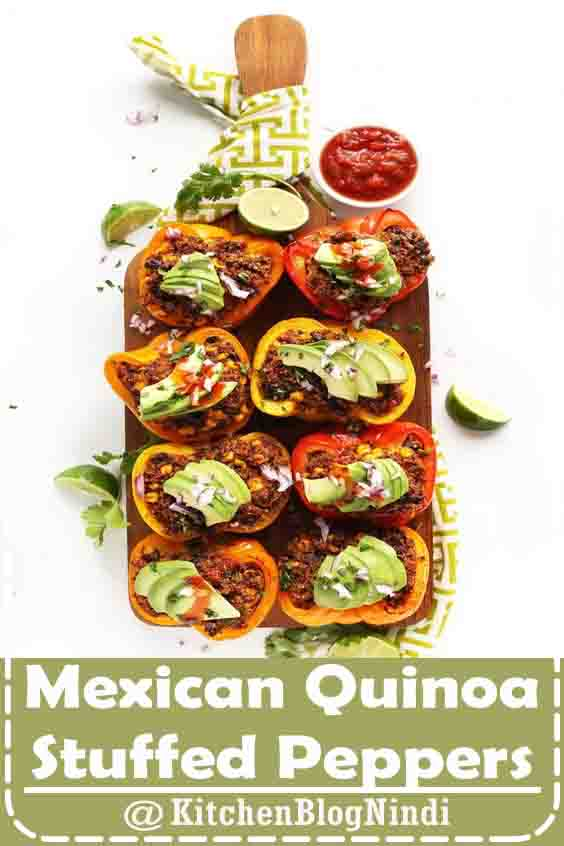 4.9★★★★★ | Amazing Mexican-inspired quinoa stuffed peppers made with just 10 ingredients! Simple, flavorful, full of protein and fiber, and entirely vegan and gluten-free! #Mexican #Quinoa #StuffedPeppers #highprotein #vegan #recipes #lunch