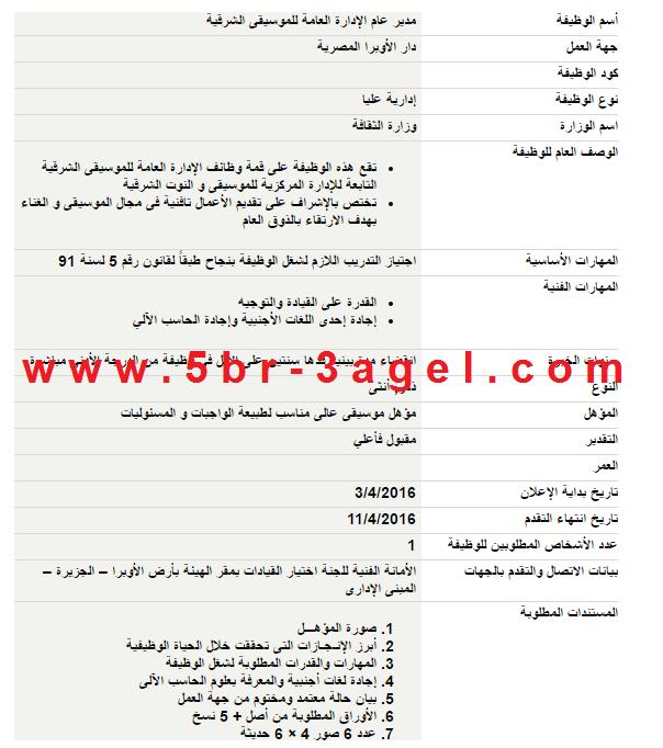 """اعلان وظائف وزارة الثقافة """" للذكور والاناث """" والاوراق والتقديم حتى 11 / 4 / 2016"""