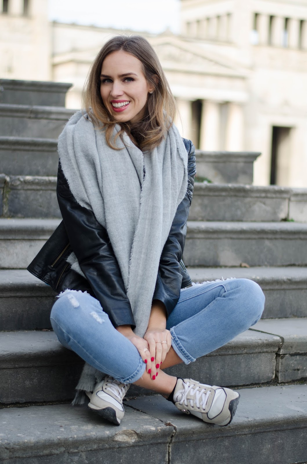 kristjaana mere oversized wool scarf leather jacket ripped jeans sneakers