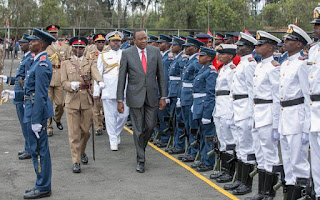 President Kenyatta at Lanet barracks.
