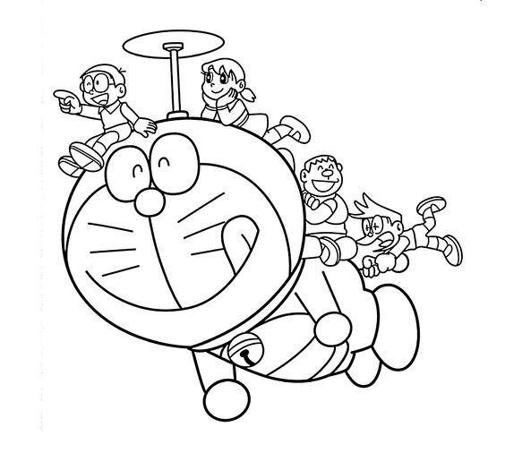 Tranh cho bé tô màu Doraemon và các bạn