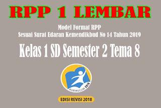 RPP 1 Lembar SD Kelas 1 Semester 2 Tema 8