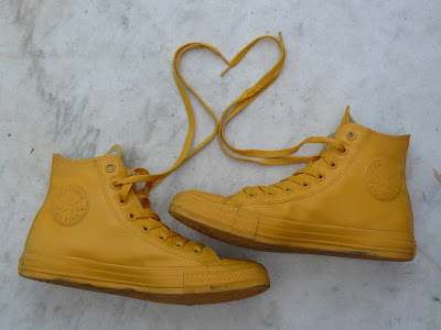 converse yellow rubber shoes