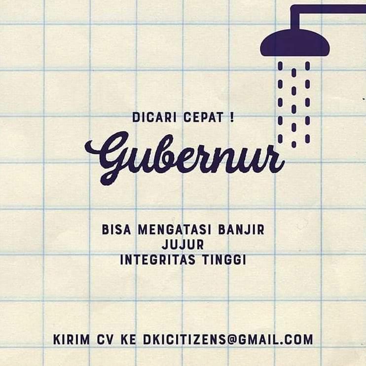 Beredar Meme 'Dicari Gubernur' Efek Banjir Jakarta, Ini Bantahan Telak Netizen