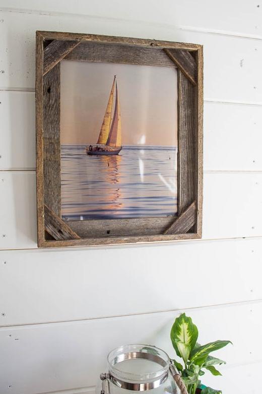 Sailboat Sailing into the Sunset Photo Print Wood Framed