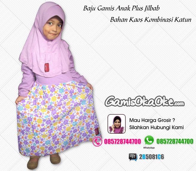 Gamis anak oka oke solo dengan dilengkapi hijab model terbaru harga murah
