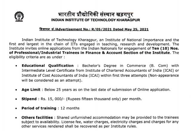 IIT Kharagpur Recruitment - 10 Professional, Industrial Trainee - Last Date: 25th June 2021