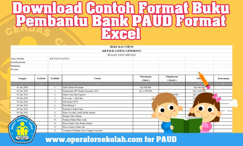 Download Contoh Format Buku Pembantu Bank PAUD Format Excel