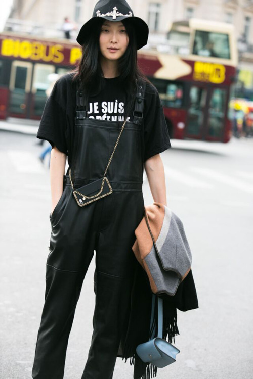 Street Style: Sung Hee Kim in Leather Overalls