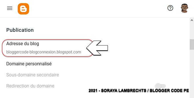 Modifier l'url du blog via le tableau de bord
