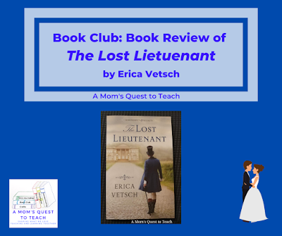 book cover of The Lost Lieutenant; clip art of bride and groom and A Mom's Quest to Teach Logo