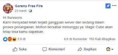 Server Free Fire Garena 999+ Misi Play Time 17 Menit Magic Cube Gratis