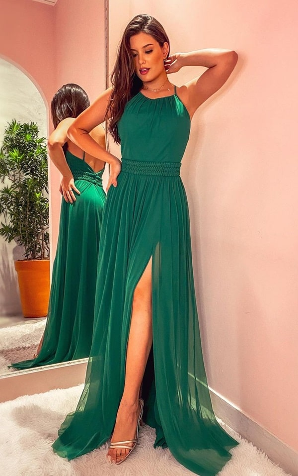 vestido longo verde para madrinha de casamento dia