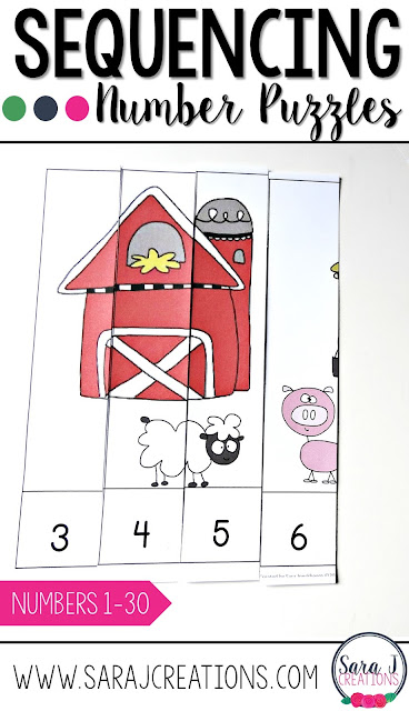 Sequencing numbers puzzles is a fun game for practicing counting, sequencing and ordering numbers.  Great for kindergarten!