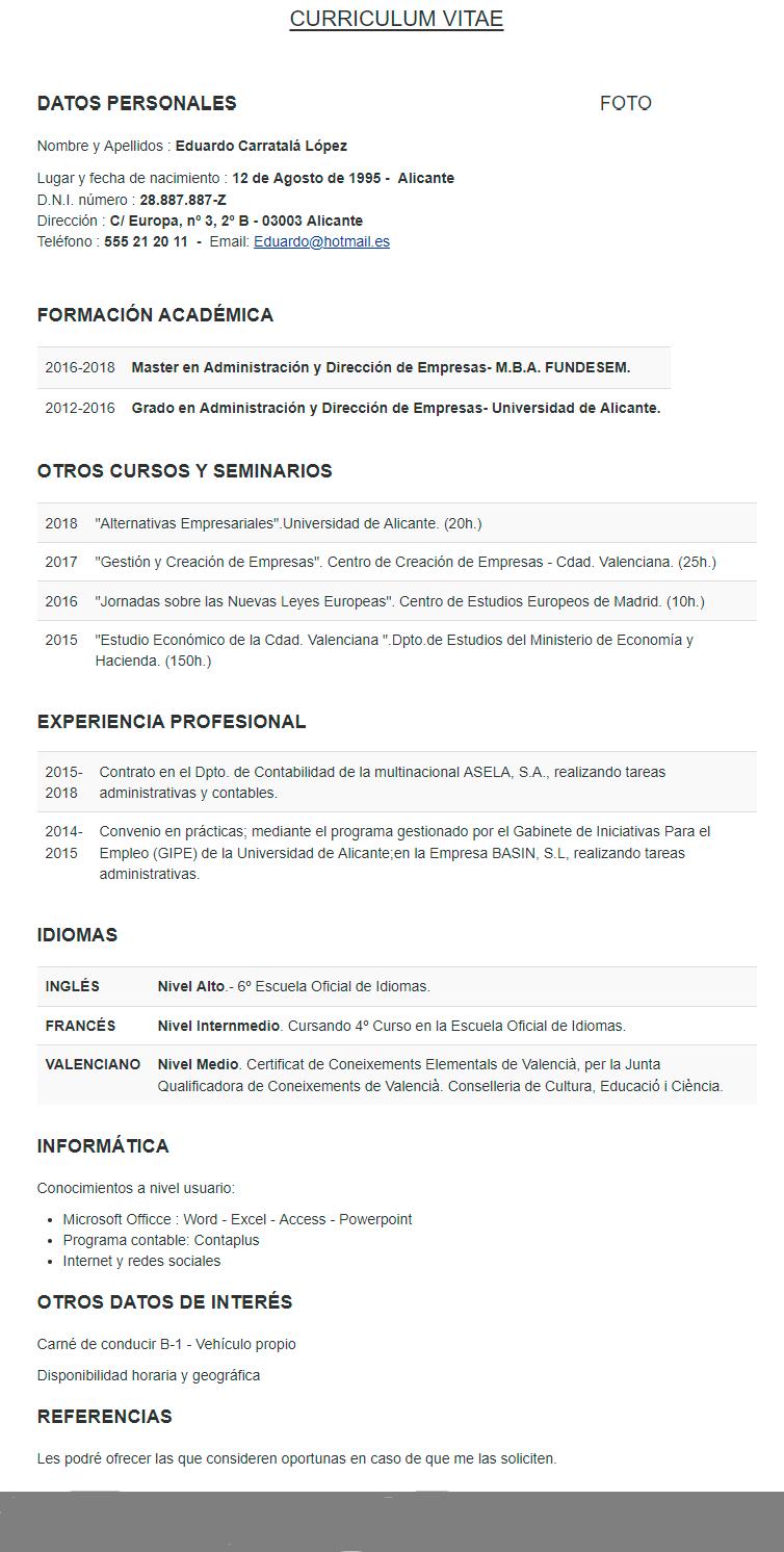 Que Es Curriculum Vitae Documentado Ejemplo Curriculum Vitae