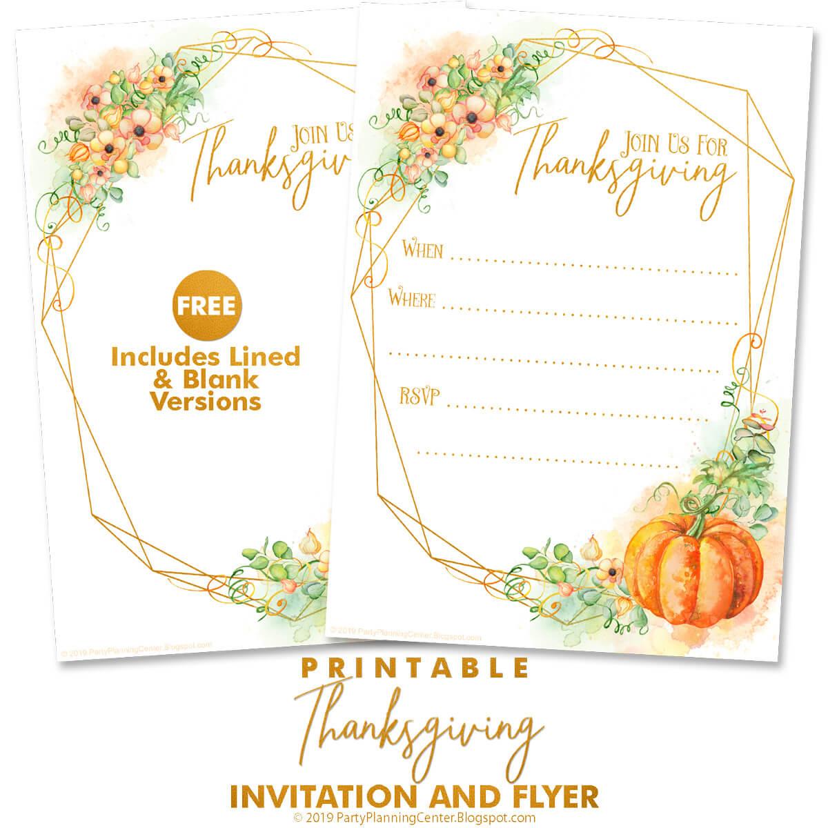 free printable Thanksgiving invites