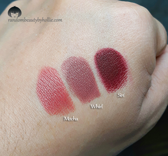 abbastanza Random Beauty by Hollie: Mac Lipstick in Mocha, Whirl and Sin Swatches YG15