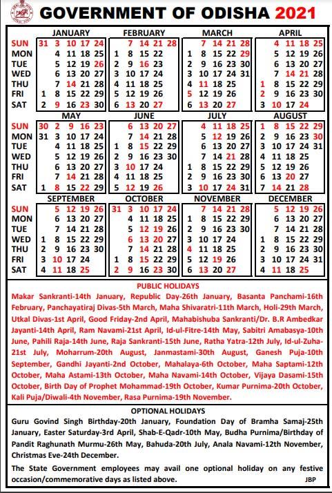Govt calendar 2021 odisha, Public Holidays and Optional Holidays info