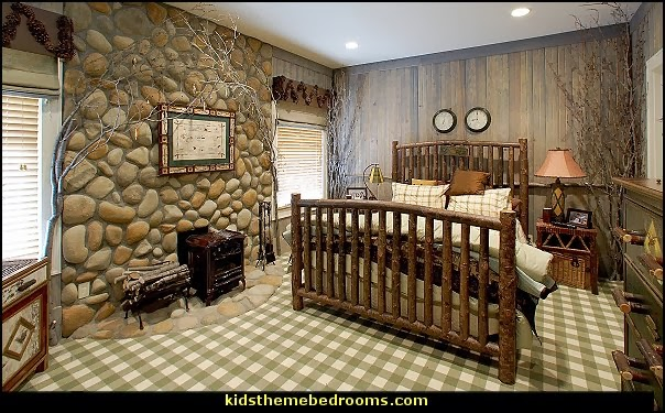 log cabin bedroom decorating ideas-rustic style log cabin theme decorating
