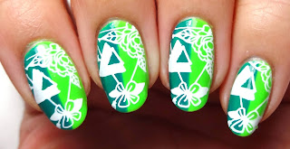 Geometric Floral Nails