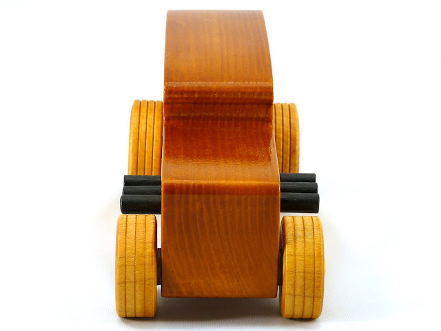 Front - Wooden Toy Car - Hot Rod Freaky Ford - 32 Sedan - Pine - Amber Shellac - Metallic Gold - Black