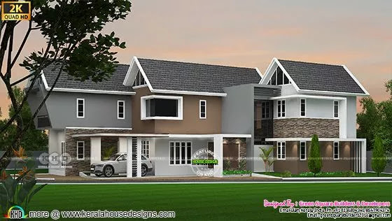 sloping roof style house 2366 sq-ft