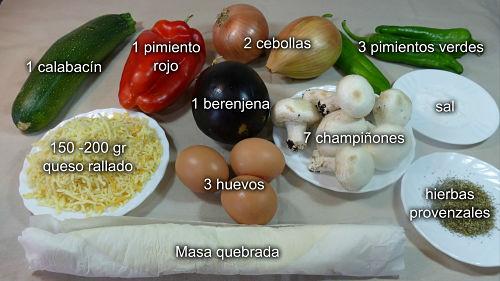 Quiche de verduras. Ingredientes