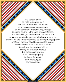 5th Amendment to print and color- available in jpg and transparent png version. #Constitution #Patriotism #Homeschooling