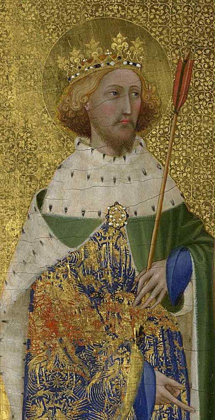 Santo Edmundo rei mártir, Wilton Diptych, National Gallery, Londres