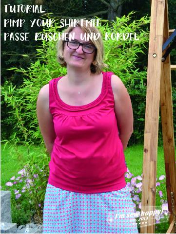 pimp your shirt mit passe rüschung und kordel