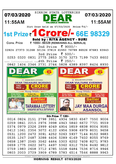 Lottery Sambad 07.03.2020 Sikkim Lottery Result 11.55 AM