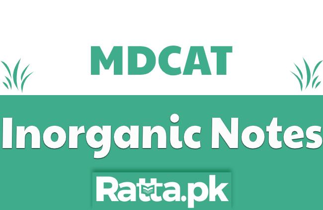 MDCAT Inorganic Chemistry Notes pdf Download